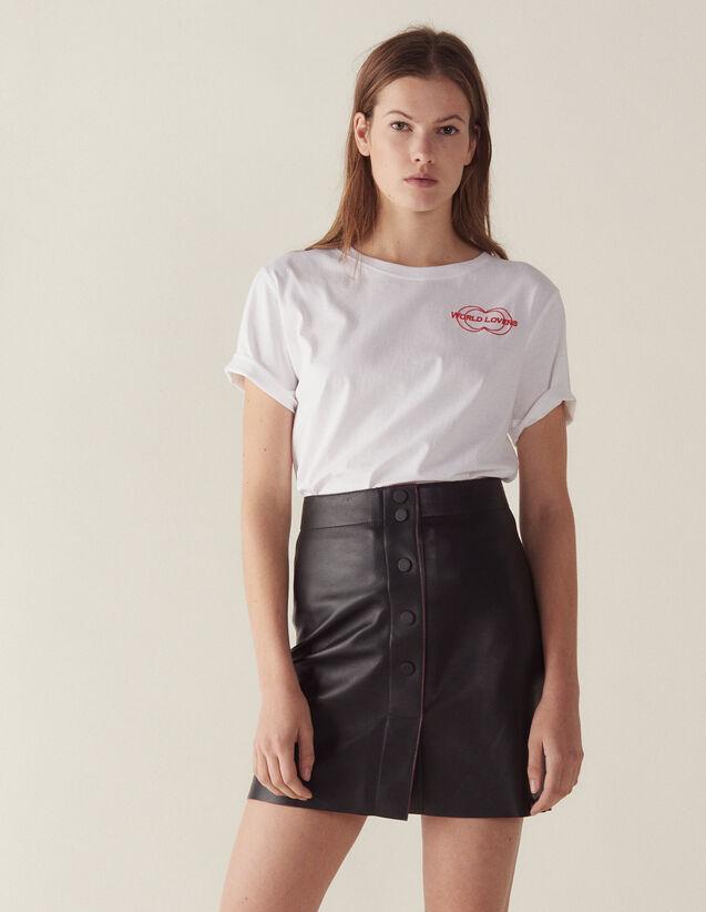 50fa763222b A-line leather skirt   Skirts color Black