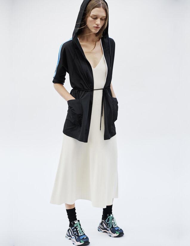 Windbreaker Coat With Lettering On Trim : Coats & Jackets color Black