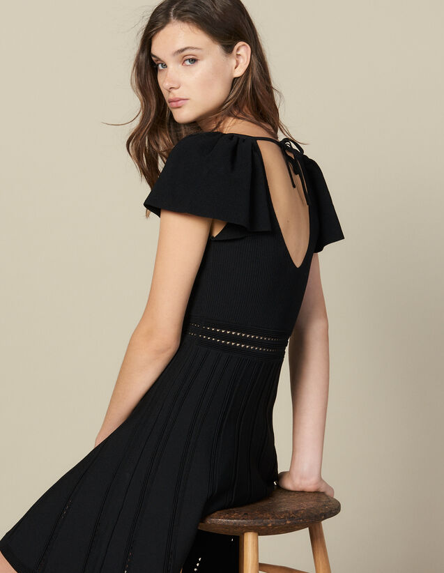 Short knit dress : Dresses color Black