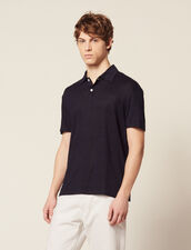 Short-Sleeved Linen Polo Shirt : T-shirts & Polos color Navy Blue