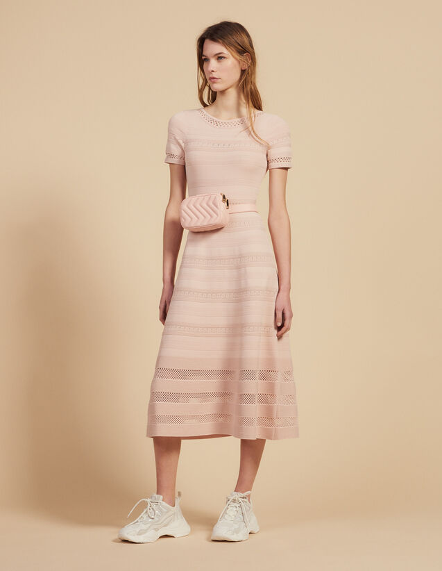 Mid-Length Knit Dress : Dresses color Pink