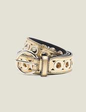 Belt With Eyelets : Belts color Gold