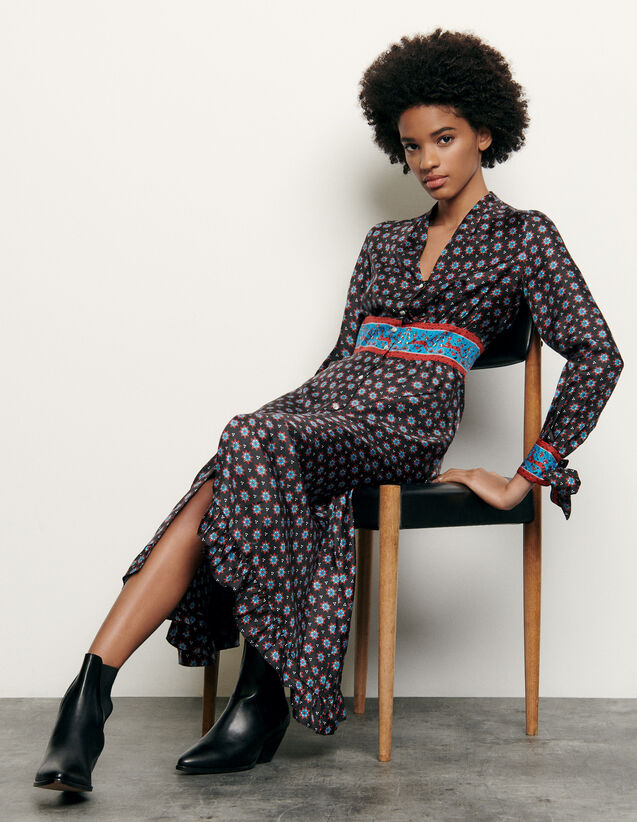 Printed long silk dress : Spring Pre-Collection color Black