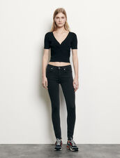 Ribbed knit cropped top : Sweaters & Cardigans color Black