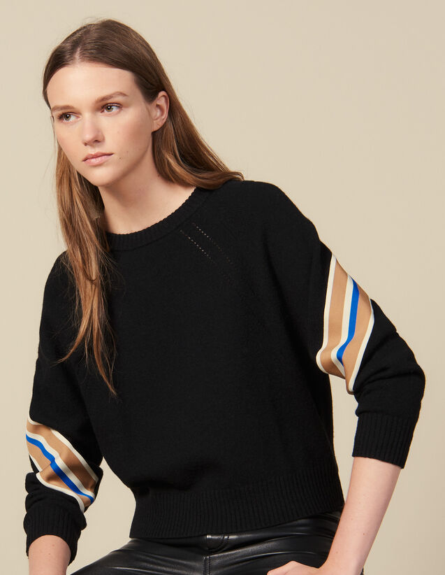 Sweater With Wide Striped Braid Edging : Sweaters color Black