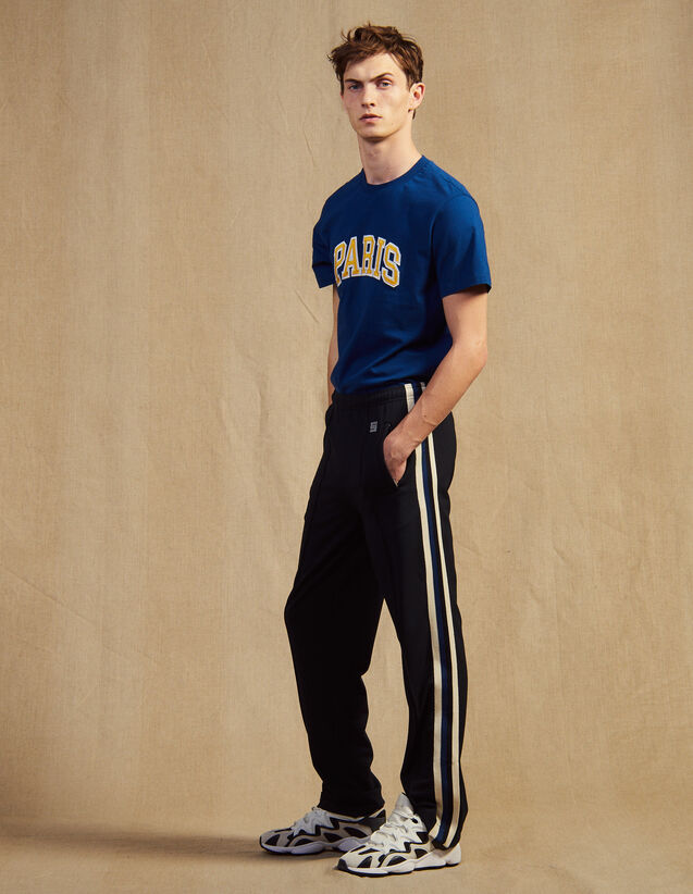 Jersey Jogging Bottoms With Striped Trim : Pants & Jeans color Black