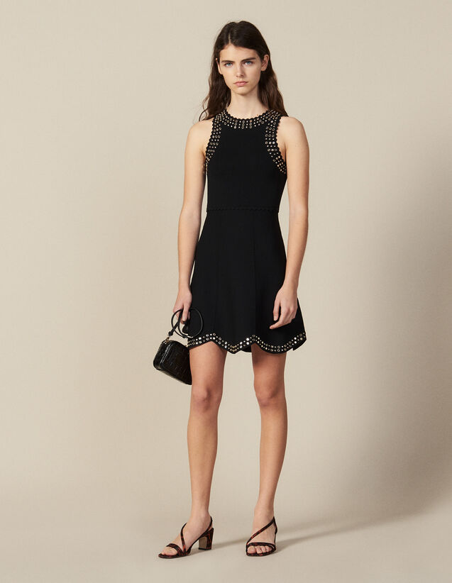 Short Knit Dress Trimmed With Studs : New Collection color Black