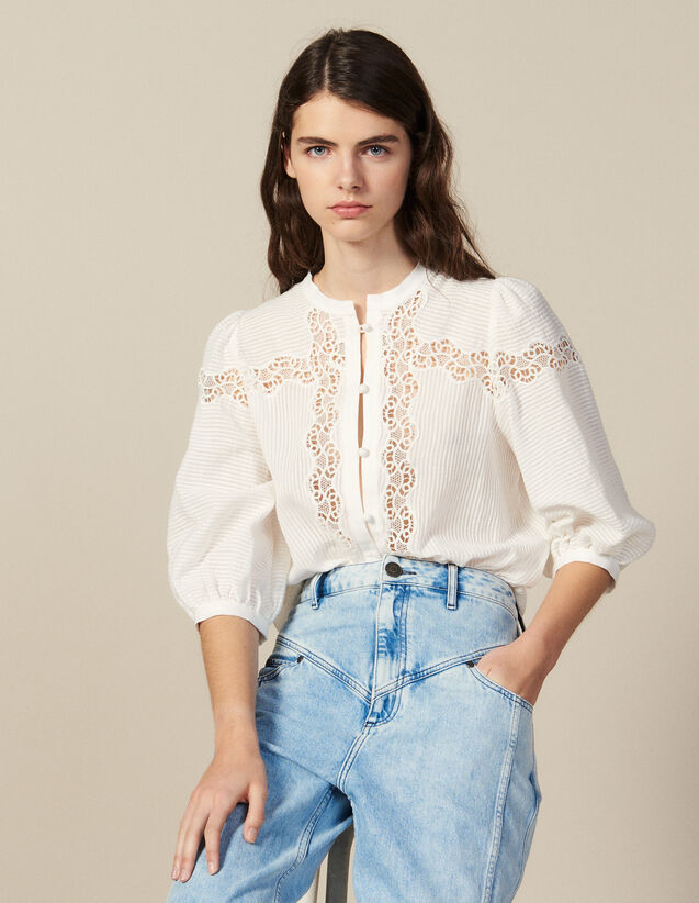 Lace-Blend Blouse : Tops & Shirts color Ecru