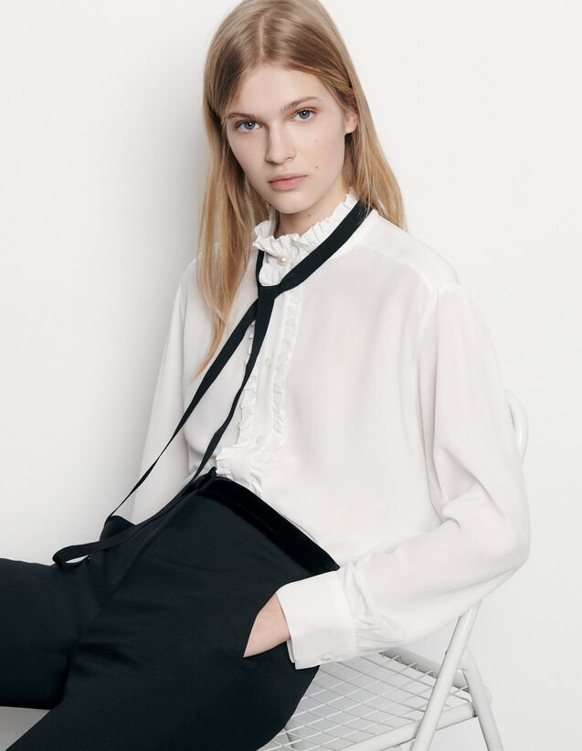 Silk blouse with ribbon : Spring Pre-Collection color Ecru