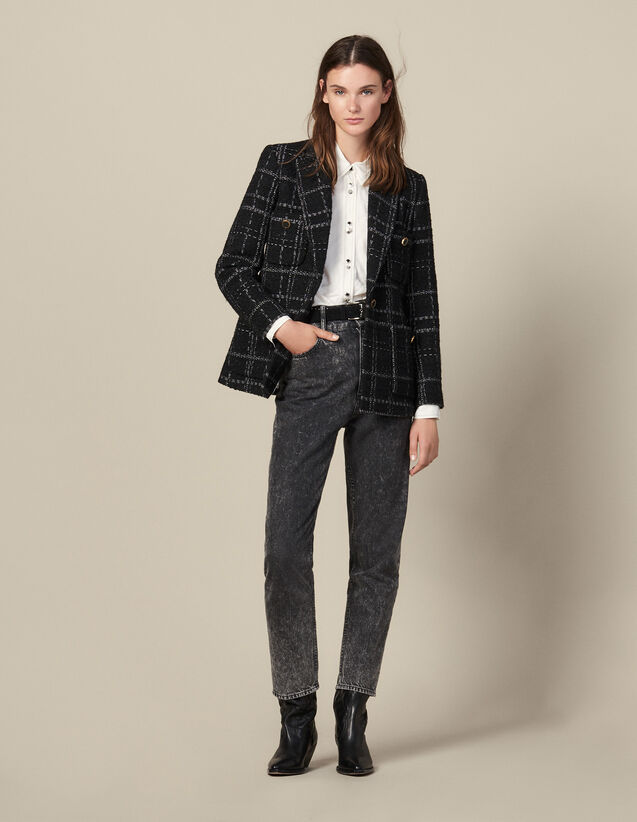 Tweed tailored jacket : Jackets color Black