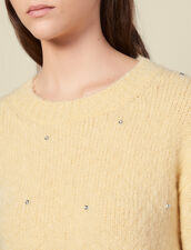 Round neck sweater with rhinestones : Sweaters & Cardigans color Yellow
