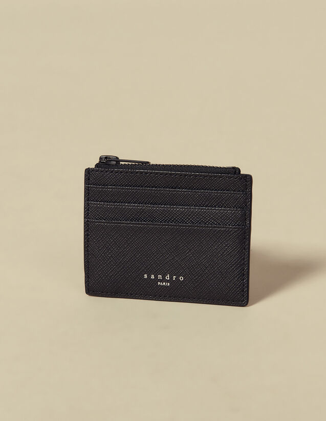Saffiano Leather Zipper Card Holder : Leather Goods color Black