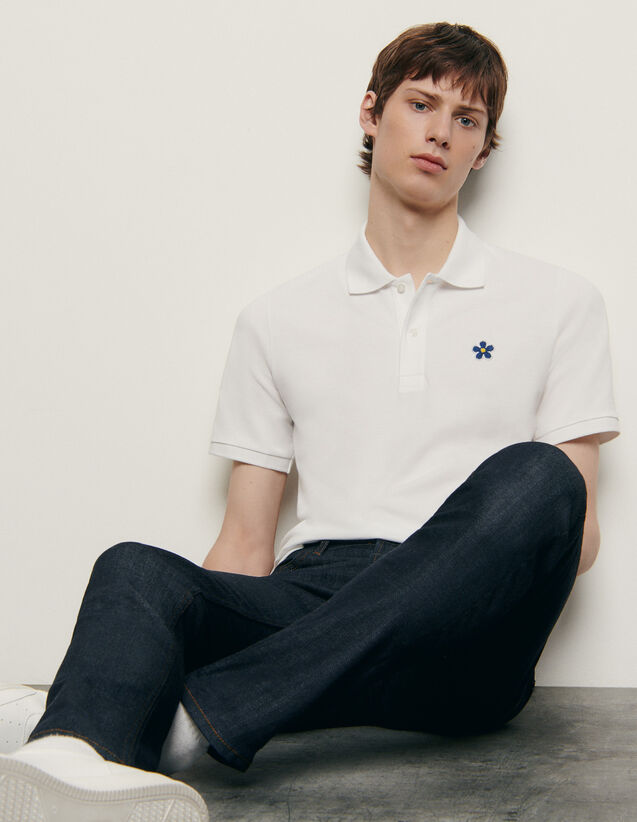 Cotton polo shirt with embroidered patch : Spring Pre-Collection color Navy Blue