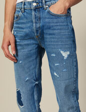 Destroyed Cotton Slim-Fit Jeans : Jeans color Blue Vintage - Denim
