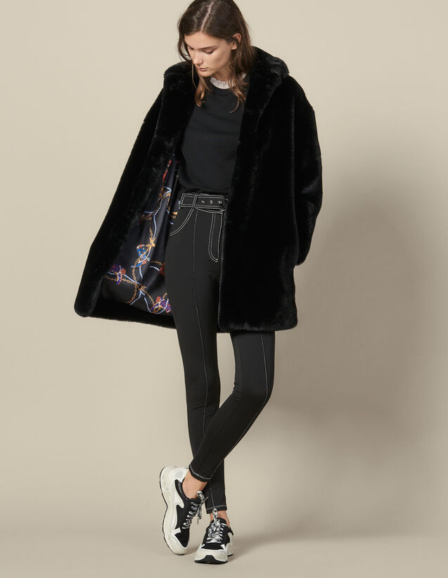 Faux Fur Coat : Coats color Black