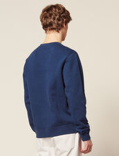 Sweatshirt With Logo Embroidery : Sweaters color Steel blue