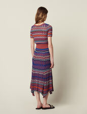 Long Knit Skirt With Zigzag Print : Skirts color Terracotta