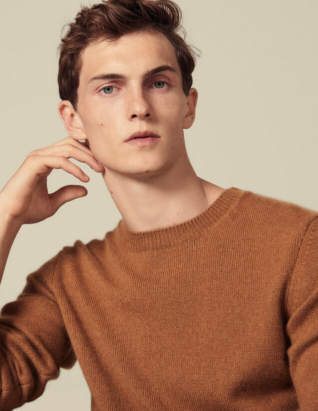 Cashmere sweater : Sweaters color Dark Camel