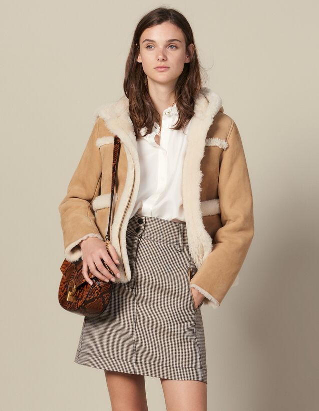Short A-Line Skirt In Houndstooth : Skirts color Camel