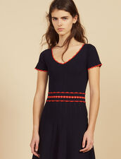 Short Knit Dress With Pleats : Dresses color Navy Blue