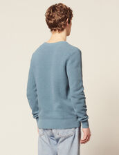 Textured Cotton Knit Sweater : Sweaters color Steel blue