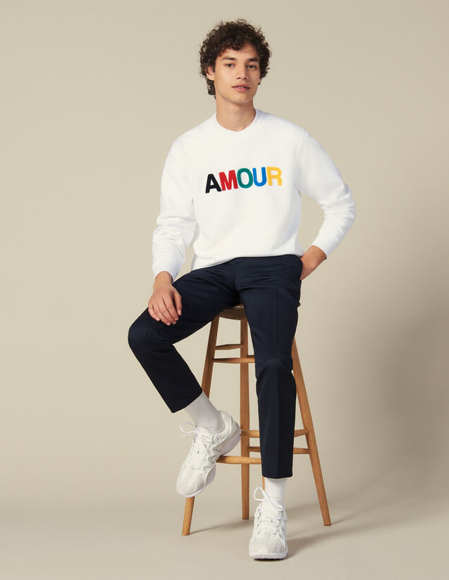 Slogan Sweatshirt In Unbrushed Fleece : New Collection color white