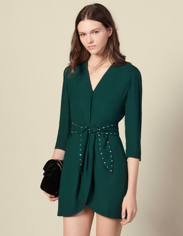Shoulder pad dress with rhinestone belt : Dresses color Green