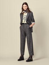 Wide-leg checked pants : Pants & Shorts color Grey