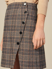 Checked Wrapover Skirt With Slit : Skirts color Camel