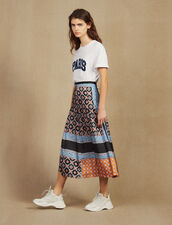 Long Printed Skirt With Pleats : Skirts color Blue