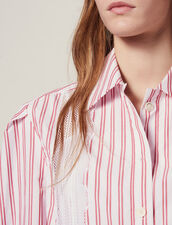 Striped Shirt With Lace Detail : Tops & Shirts color Red