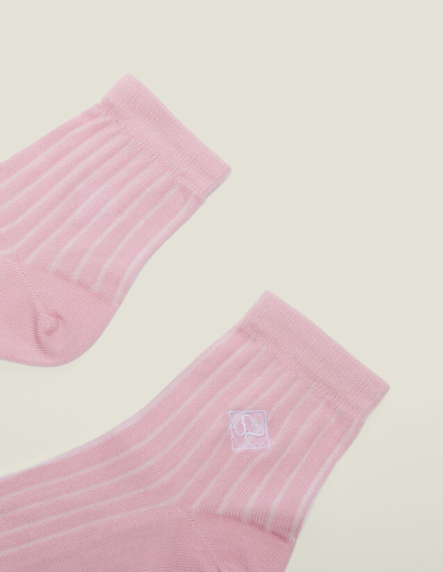 Embroidered Cotton Socks : Other Accessories color Rose pastel