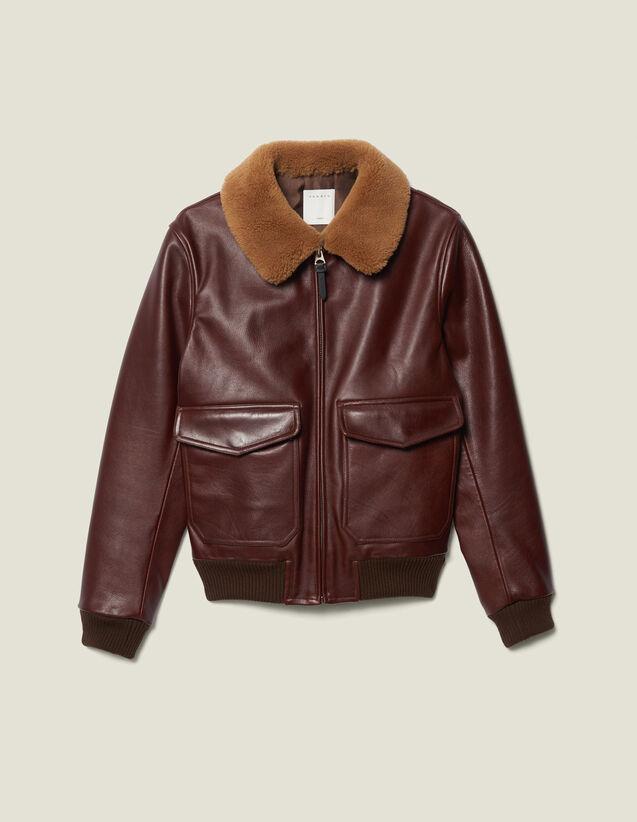 Leather Flight Jacket With Sheepskin : Jackets color Bordeaux