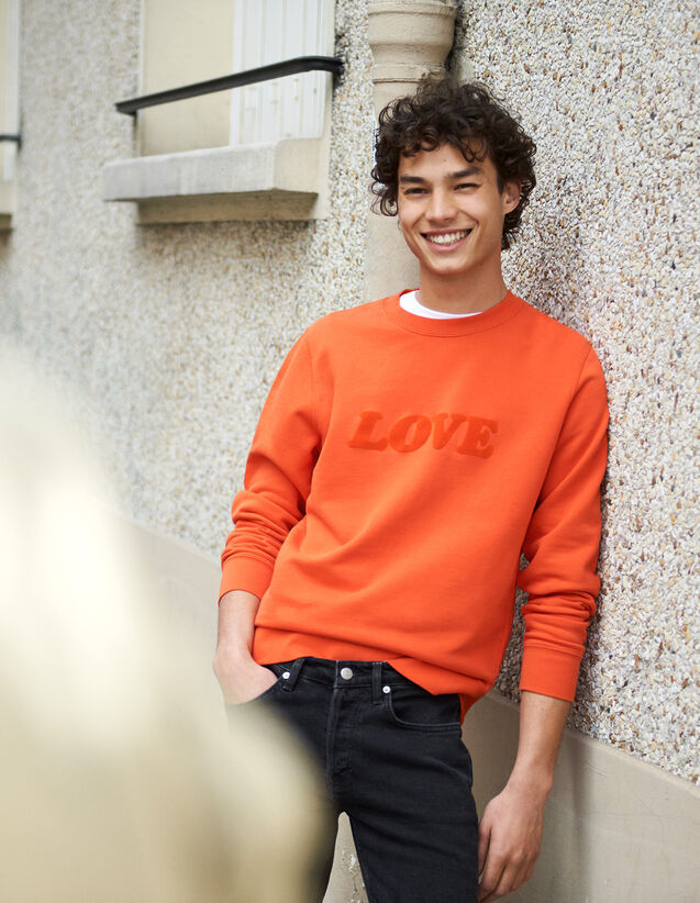 Sweatshirt With Lettering : New Collection color Orange