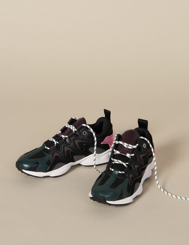 Trainers In Mixed Materials : Shoes color Black