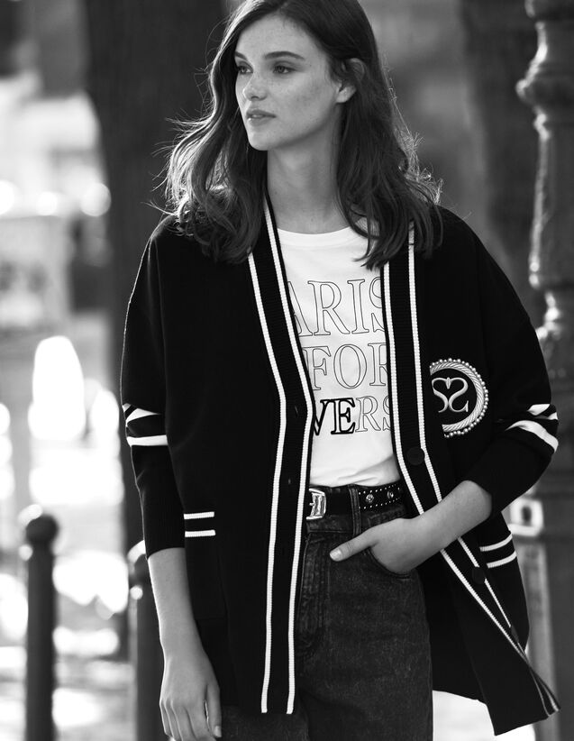 Varsity-style cardigan : Sweaters & Cardigans color Black