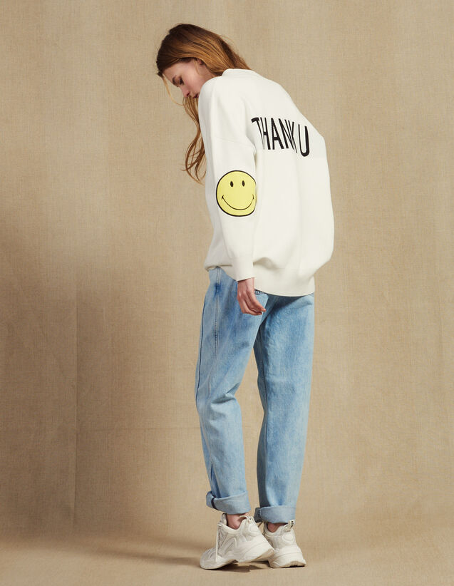 Cardigan With Contrasting Slogan : Sweaters color Ecru