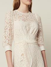 Short Lace Dress With Belt : Dresses color Nude