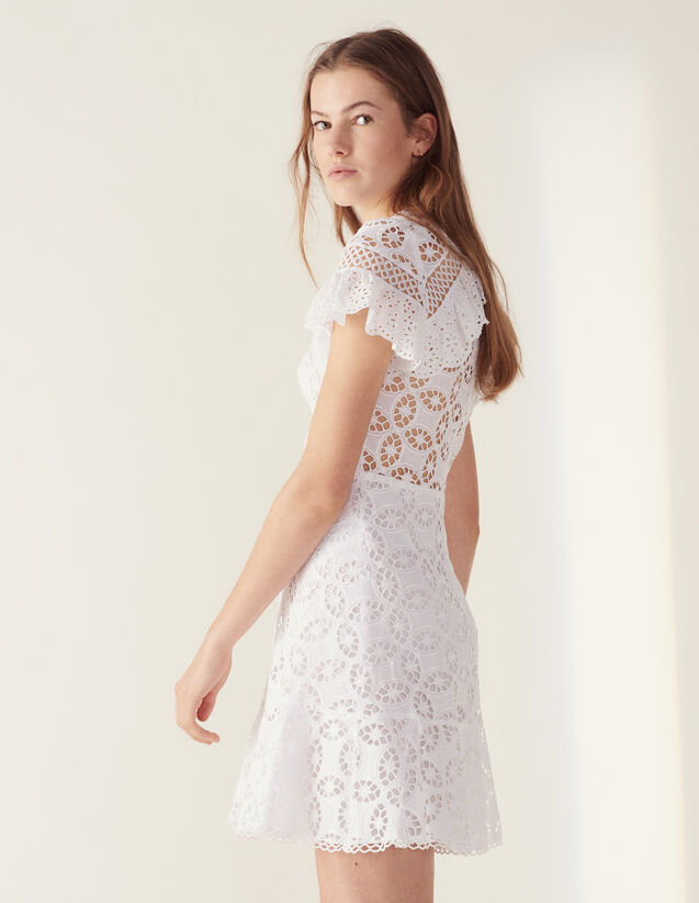 a373fdfcd6 Ruffled Lace Dress : Dresses color white