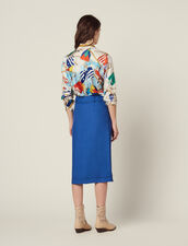 Belted Knee-Length Skirt : Skirts color Blue