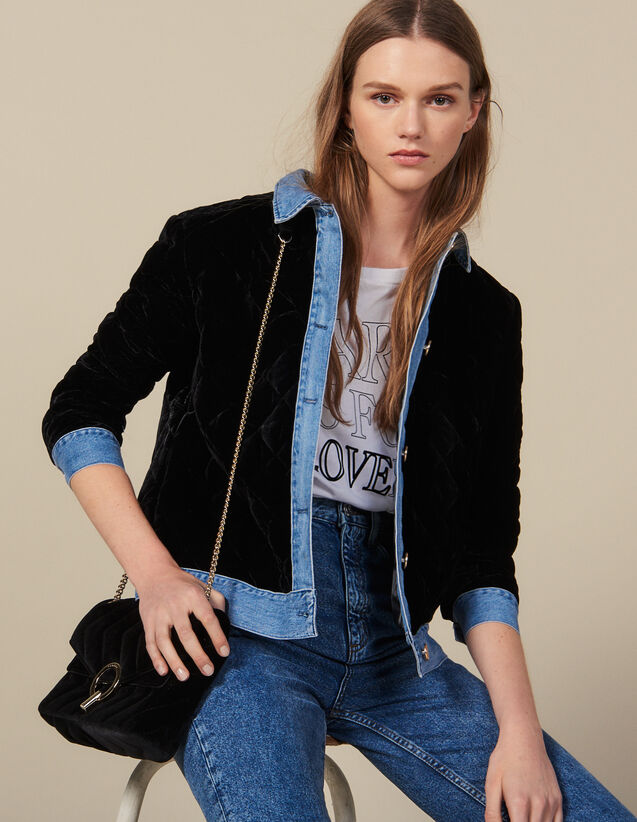 Quilted Velvet Jacket : Jackets color Black