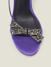 Satin sandals with rhinestone bow : Shoes color Purple