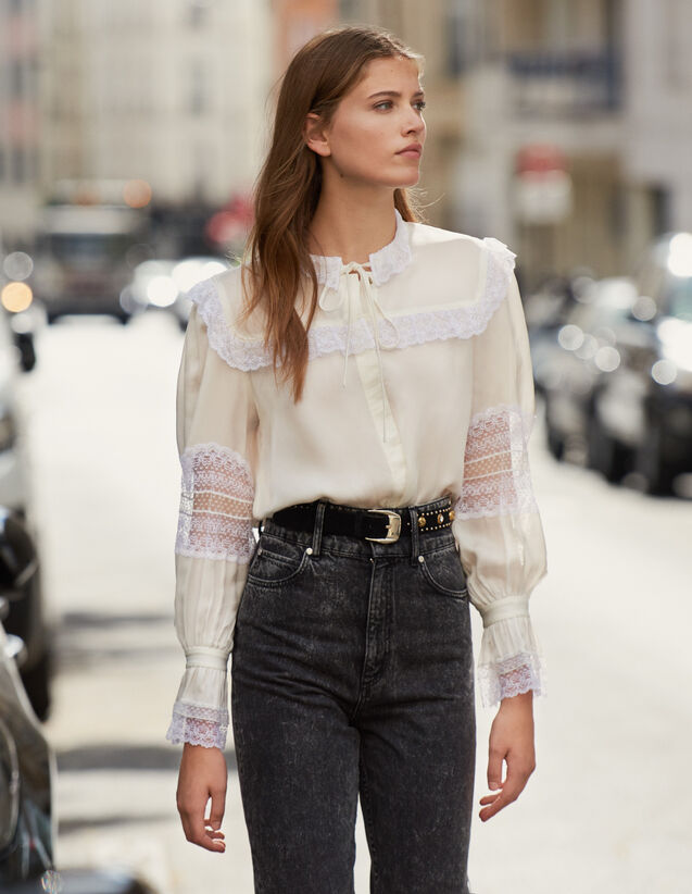 Lace Embellished Blouse : Tops & Shirts color Ecru