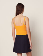 Knit Crop Top With Narrow Straps : Tops & Shirts color Yellow