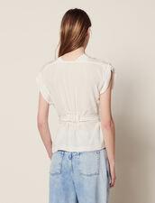 Silk V-Neck Top : Tops & Shirts color Ecru
