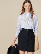 Pinstriped Tailored Short Skirt : Skirts color Black