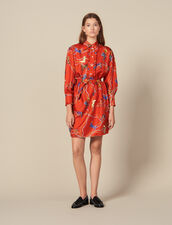 Short printed silk twill dress : Dresses color Red