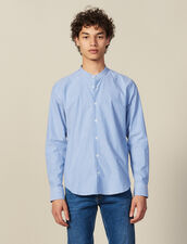 Striped Shirt With Mandarin Collar : Shirts color Blue/white