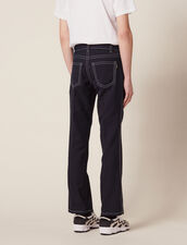 Pants With Contrasting Topstitching : Jeans color Navy Blue
