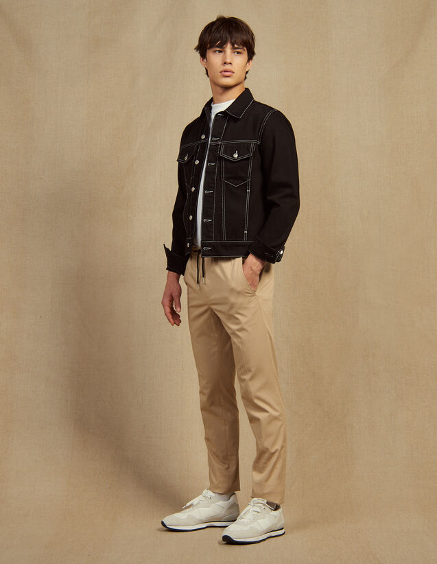 Cotton Pants With Elasticated Waist : Pants & Jeans color Beige